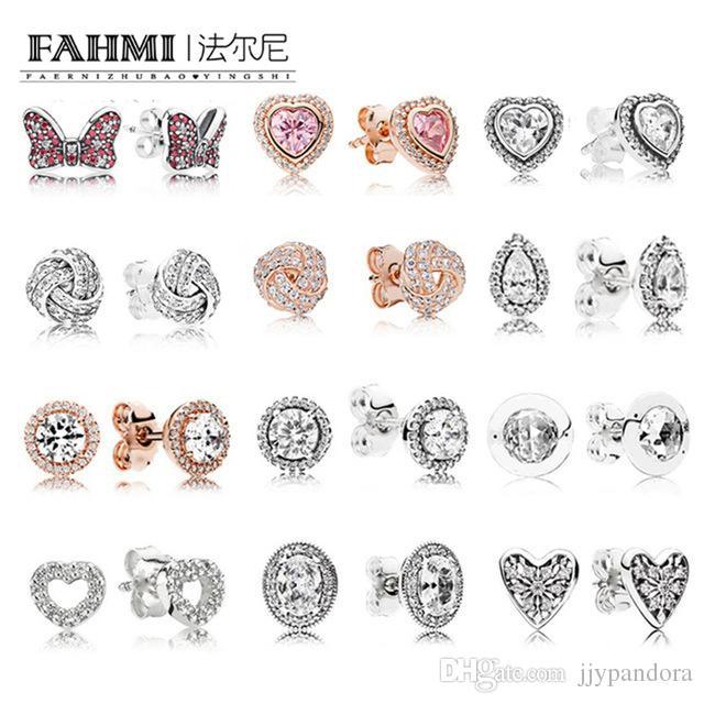 FAHMI 100 % 925 스털링 실버 1 : 1 매력 활 심장 - 모양의 로즈 골드 눈물 지르콘 라운드 여성 우아한 스터드 귀걸이