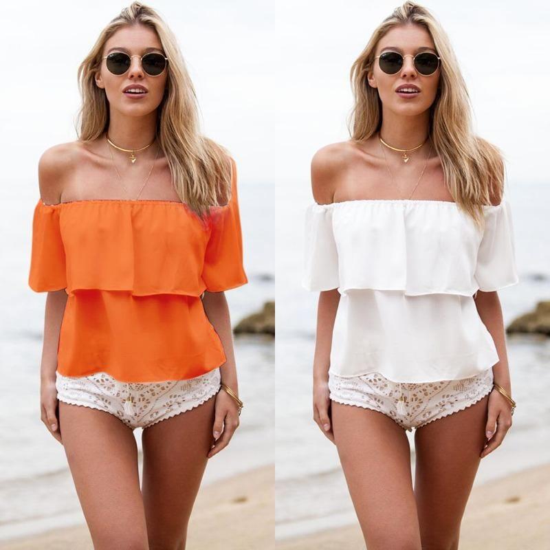 Stylish Women Sexy Off Shoulder Chiffon Short Sleeve Party Slim Shirt Top Blouse
