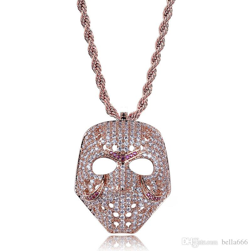Hiphop Brass Gold Plated Mask Pendant Necklace Paved Micro Cubic Zirconia Gold&Rose gold color Charm Chains Jewelry Gift