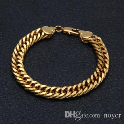 Bijoux hip hop pour homme 10mm bracelets en plaqué or style européen et américain chaîne hiphop bracelets accessoires
