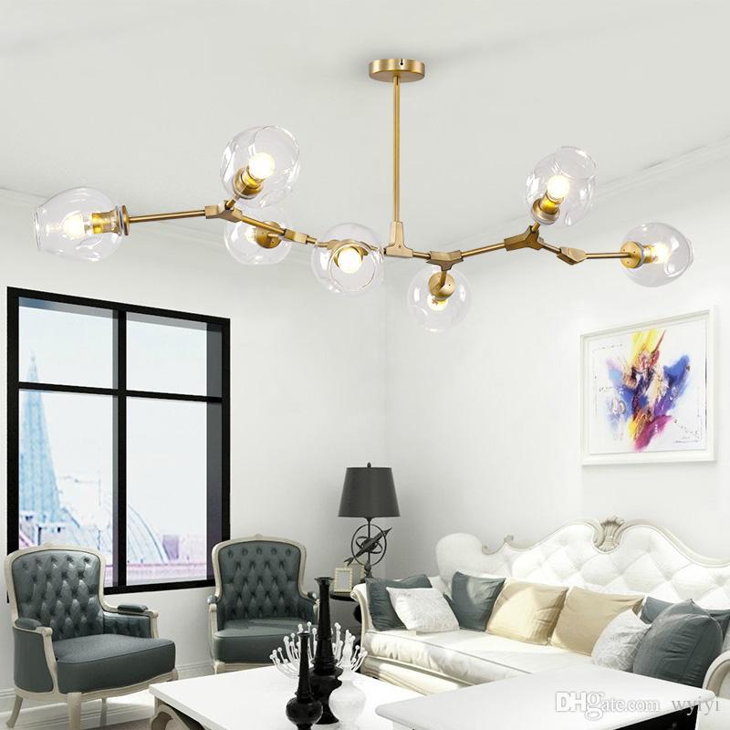 Modern Glass Pendant Light Nordic Dining Room Kitchen Light Designer Hanging Lamps Avize Lustre Lighting 110v 220v EMS