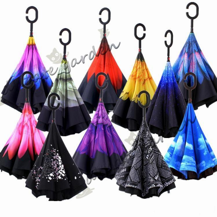 58 Colors Creative inverted umbrellas double layer with C handle or J handle inside out reverse Windproof umbrella Many colors available