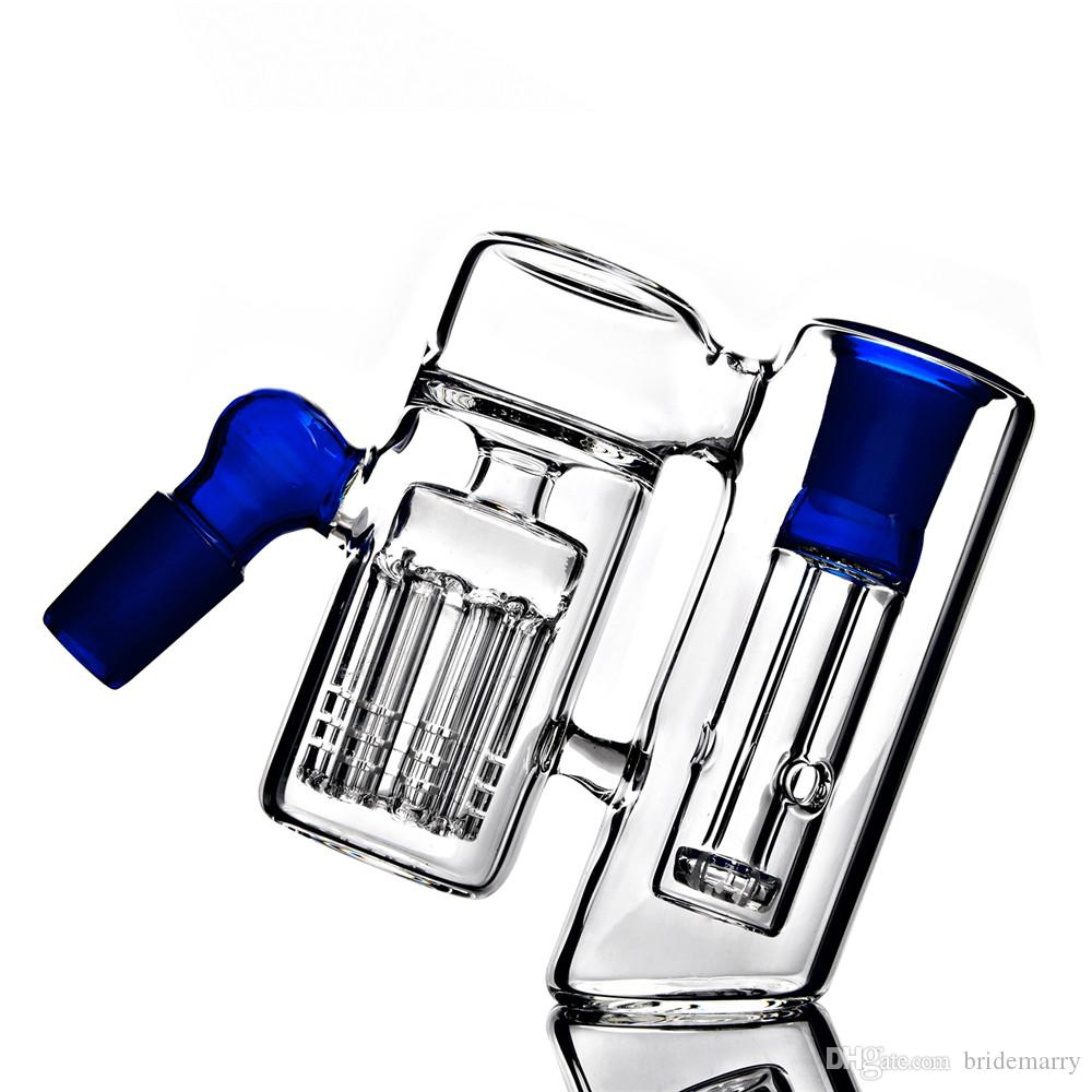 Blau 90 Grad Ash Catchers Arm Baum Raucher Collector Dab Rig Glaspfeife 18mm Joint Reflux Glasbongs Zusatz-freies Verschiffen