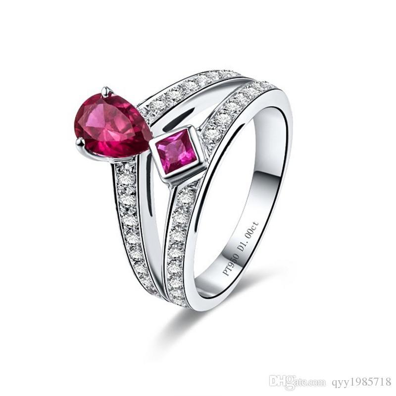 الجملة 1ct كومبو روبي خاتم الخطوبة البلاتين مطلي الاصطناعية الماس والمجوهرات 925 فضة خاتم الزواج للنساء