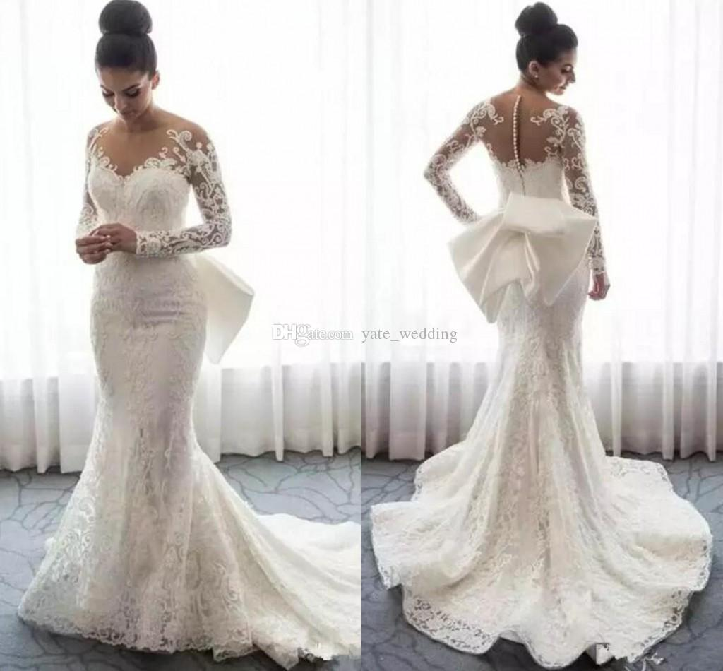 Lace Mermaid Wedding Dresses Sheer Neck Long Sleeves Appliques Saudi Arabic Wedding Gowns With Attachable Train Bridal Dresses