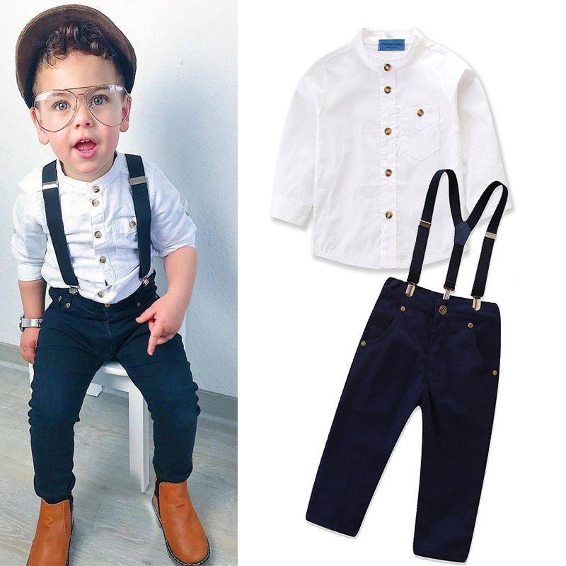 아기는 화이트 셔츠 솔리드 패스너 해군 바지 정장 어린이 의류 멜빵 단일 행 버클 포켓 지퍼 긴 소매 의상