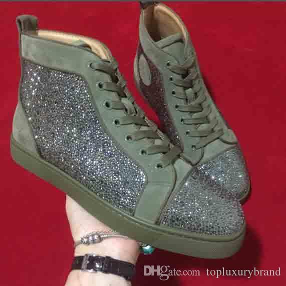 [Originals Box] Melhor qualidade Paris Red Bottom homens Casual Sneakers High Cut camurça verde-oliva com strass strass homens sapatos de skate plana