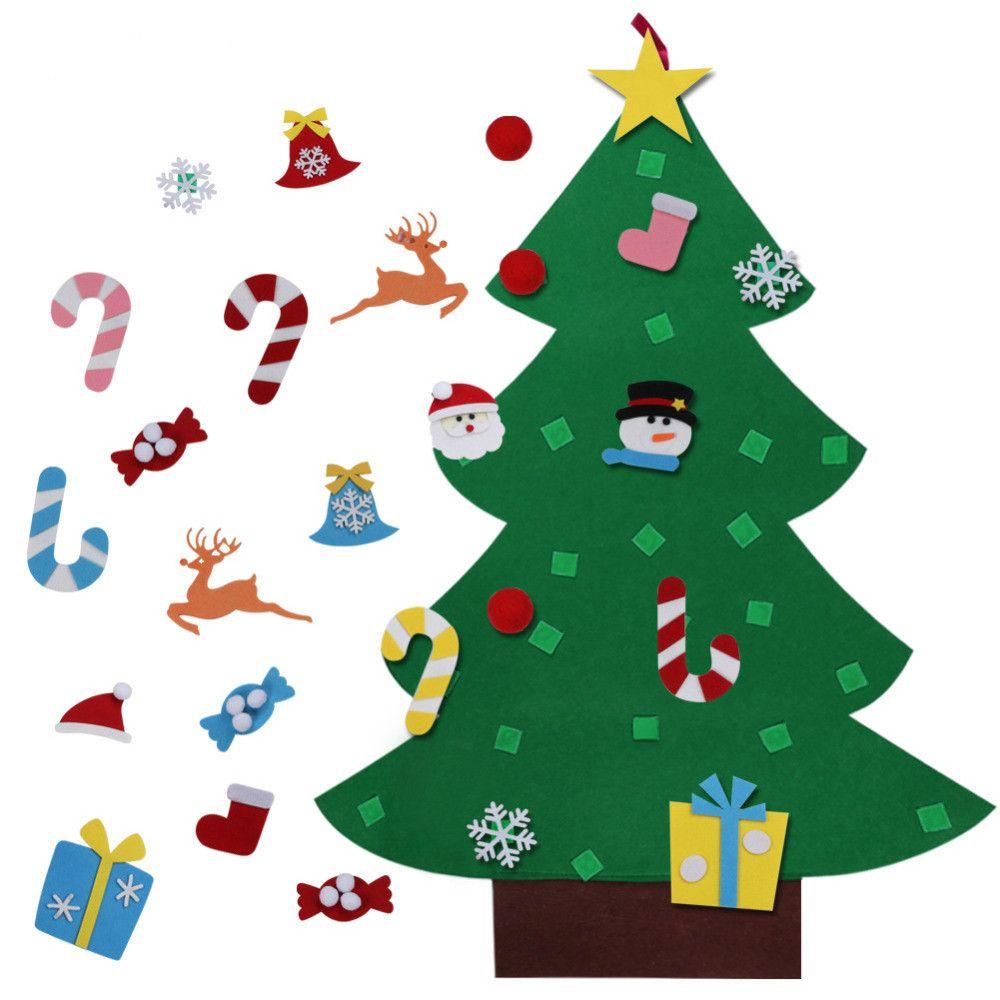 Venta al por mayor Niños DIY Árbol de Navidad de fieltro con adornos Niños Regalos de Navidad Año Nuevo Puerta Colgante de pared Decoración de Navidad