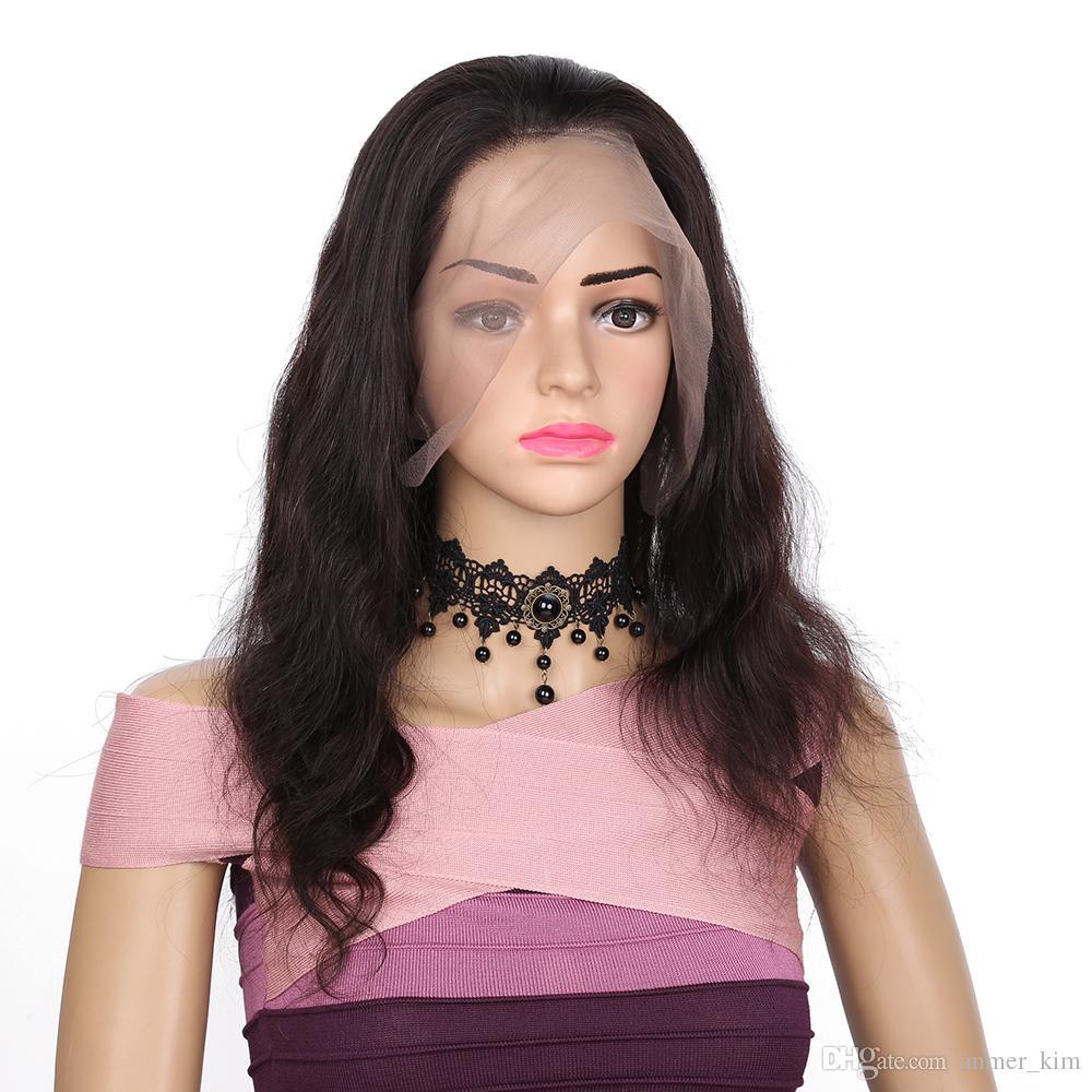 In vendita consegna veloce aaaaaa vergine di remy capelli umani lunga naturale colore dell'onda del corpo parrucca piena del merletto per le donne