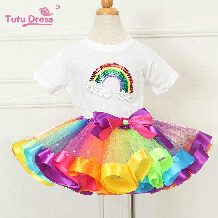 Conjuntos de ropa para niñas de verano Rainbow Casual de algodón de manga corta camiseta + Rainbow Tutu faldas niños niños niña ropa 2pcs Set