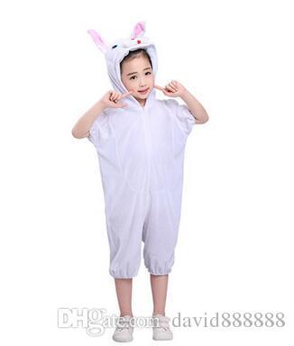 2018 Nuovi bambini di stile Cosplay Pink White Rabbit Ducklings Animal perform clothes Ragazzi e ragazze Danza Vestiti congiunti