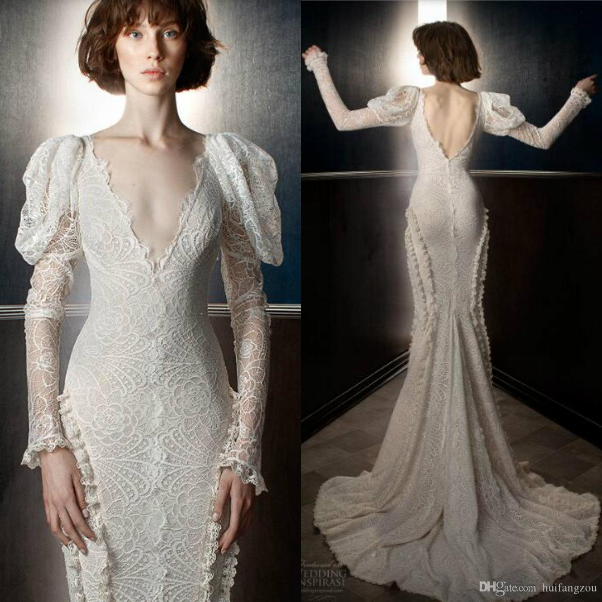 2018 Vintage Mermaid Wedding Dress Full Lace V Neck Long Sleeves Wedding Dresses Custom Made Bridal Gowns B.N