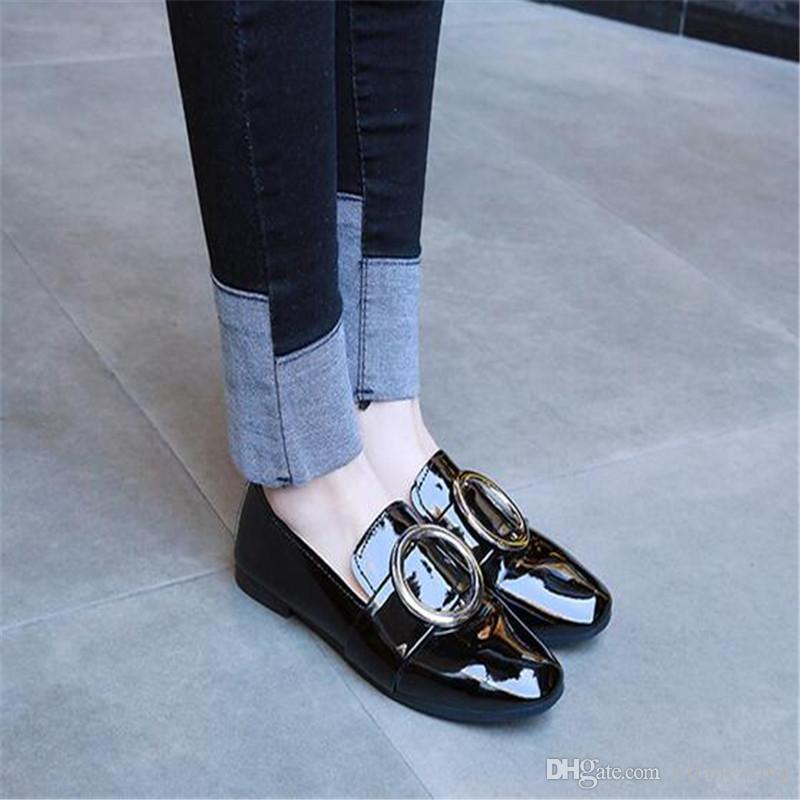 Бесплатная доставка 2018 весна новый женский плоский квадрат головы Детская обувь низкий, чтобы помочь студентам дикий педали обувь