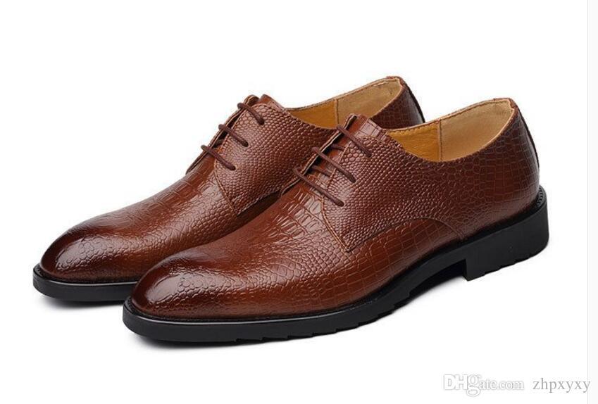 Yeni Timsah Hakiki deri yetişkinler rahat ayakkabılar Inek deri nefes iş adamı elbise ayakkabı Serin Avrupa adam daireler 1h9
