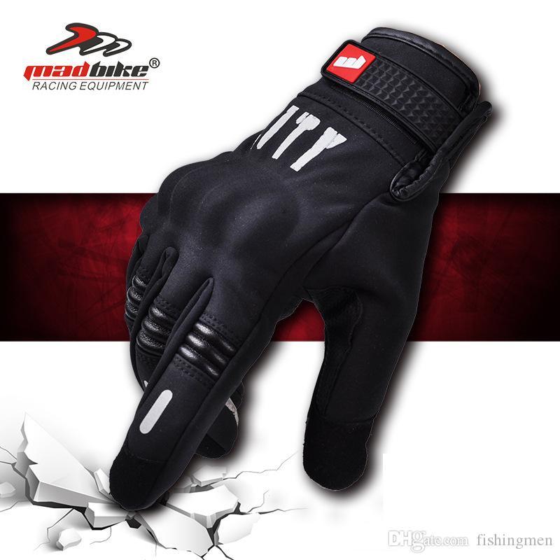 MADBIKE Moto Gants Homme Écran Tactile Hiver Chaud Étanche Coupe-Vent Gants De Protection nuit vision réfléchissant gants MAD-07