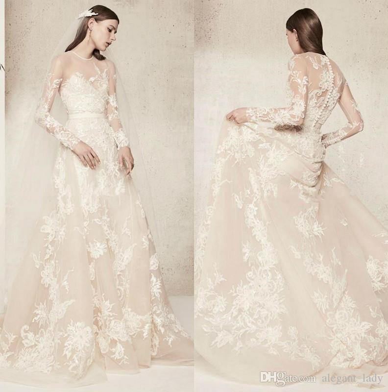 Elie Saab Lace floral Wedding Dress 2018 Illusion Long Sleeves Vestido De Novia Jewel Neck Summer Beach Bridal Gowns Custom Made