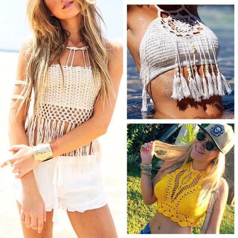 Summer Sexy Women Lady Tassel Halter de punto Crop Top Crochet Beach Bikini Bra