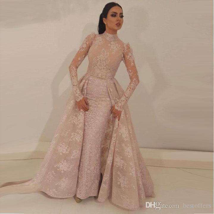 2018 High Neck Mermaid Prom Dresses Detachable Train Blush Pink Full Lace Appliqued Illusion Bodice Long Sleeves Formal Evening Gowns BA95