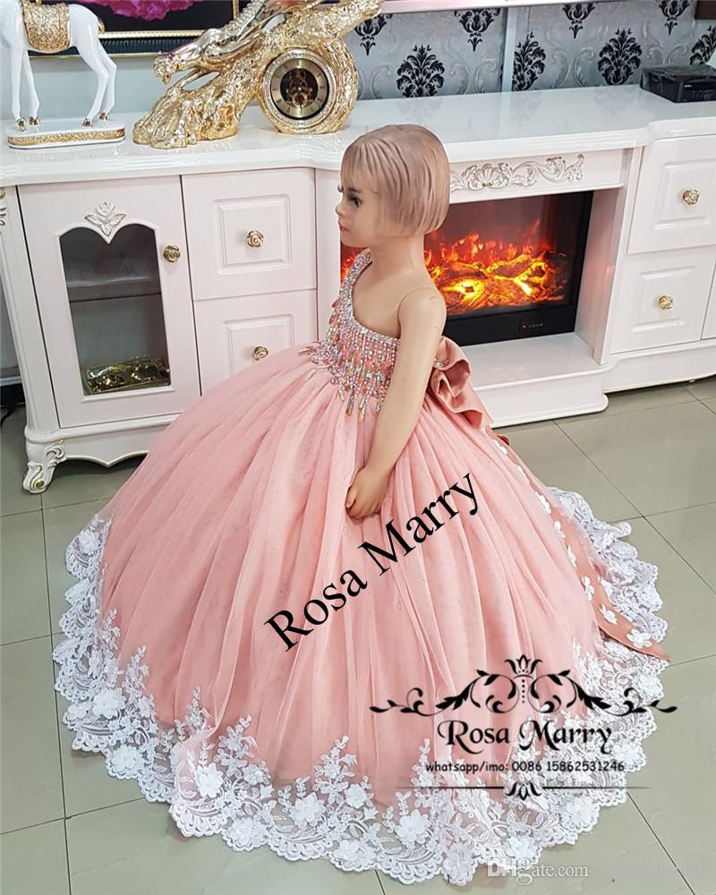 Luxury Crystals African Girls Pageant Dresses 2020 Ball Gown 3D Floral Vintage Lace Toddler Infant Little Girls Pageant Gown Size 10 Bow