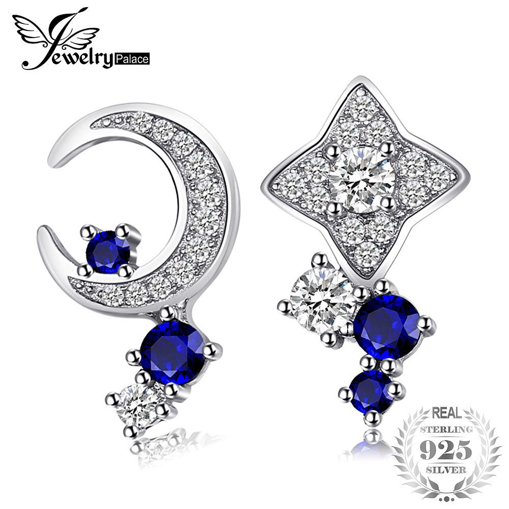 JewelryPalace Moon & Star Created Sapphire Stud Earrings 100% Real 925 Sterling Silver Fine Accessories Simple Jewelry Y18110110