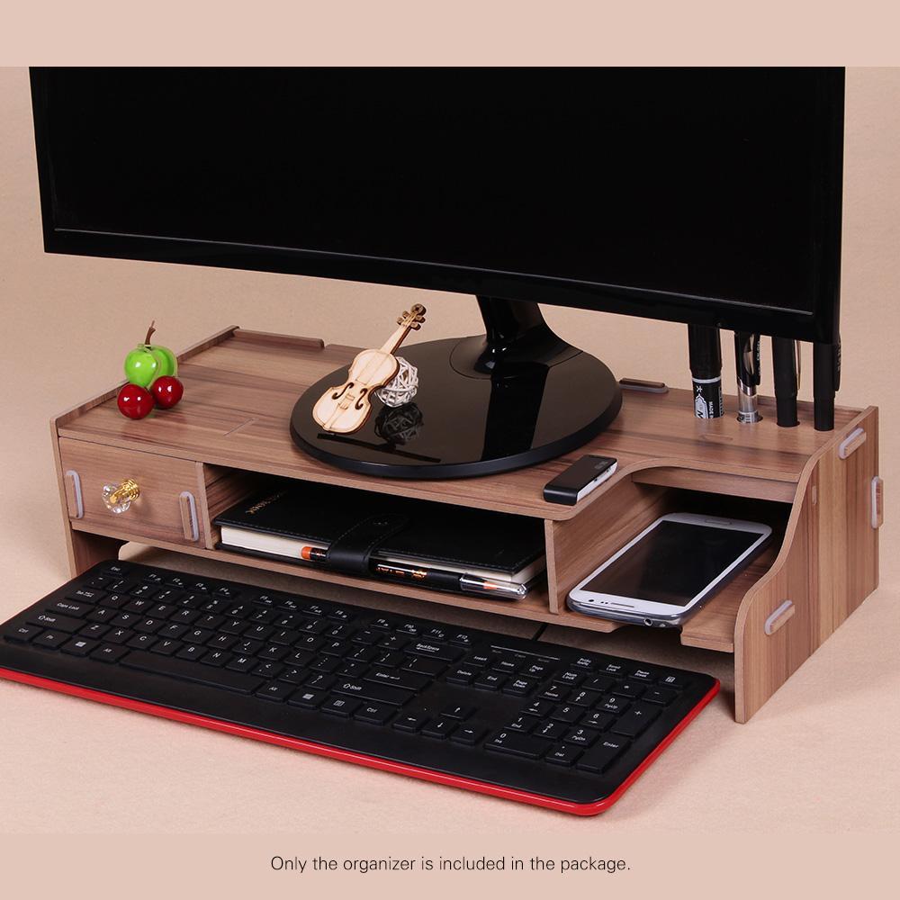 사무실 학교 교사 공급을위한 나무 모니터 키보드 마우스 저장 슬롯 라이저 컴퓨터 데스크 주최자 스탠드