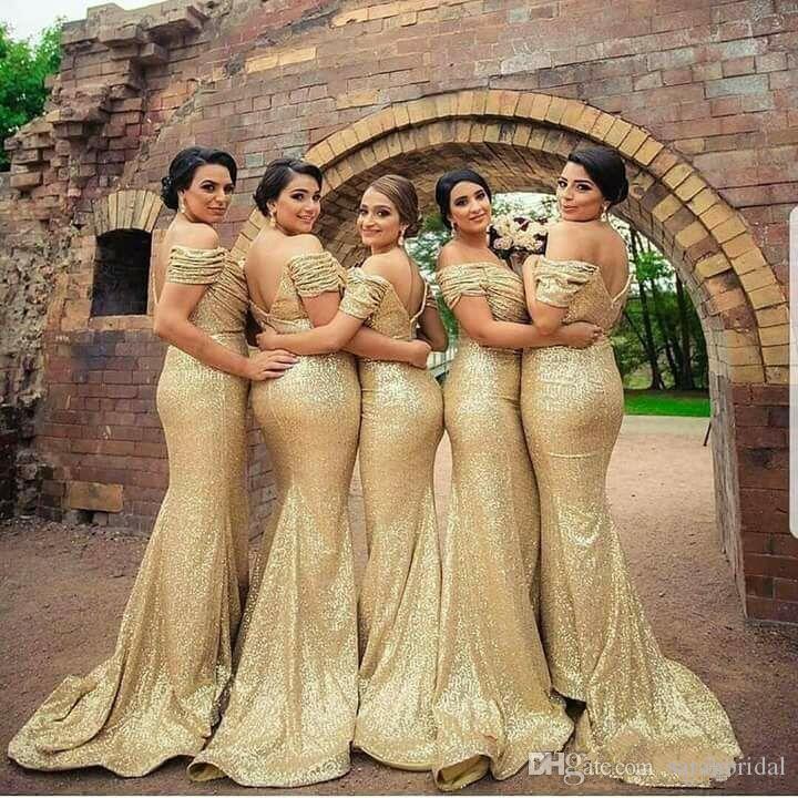 2019 Sexy ouro lantejoulas vestidos de dama de honra fora de ombro plissados sereid longa dama de honra vestido de casamento vestidos de festa barato mais tamanho