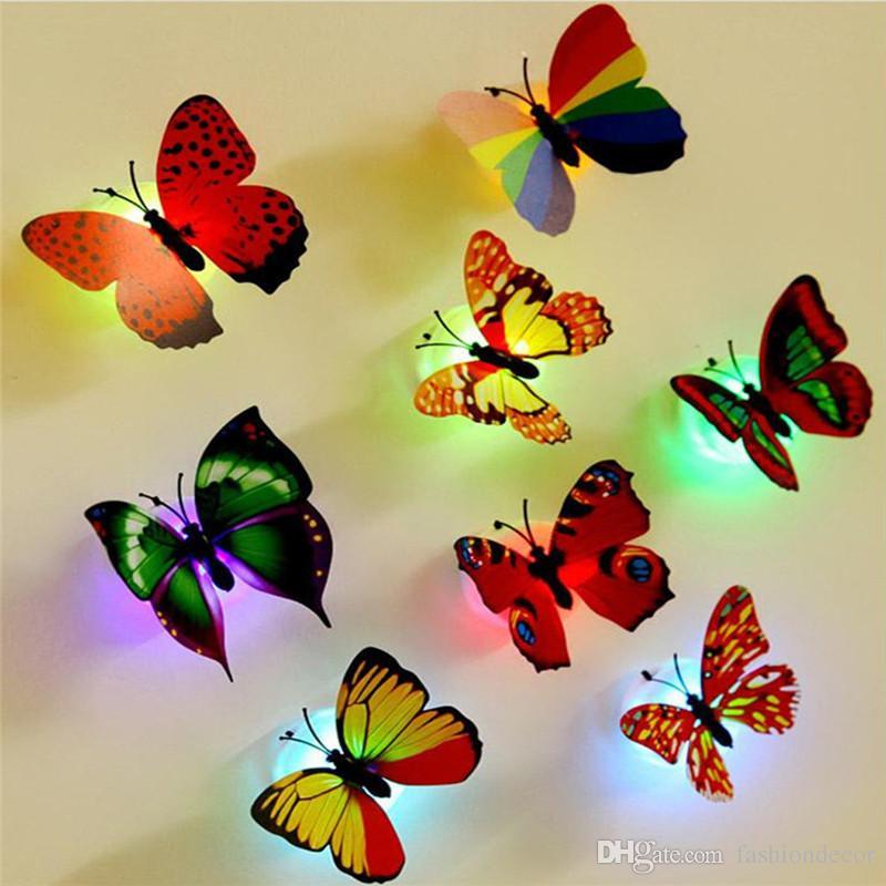 DIY 3D Mariposas de Colores LED Lámpara de Luz Nocturna Extraíble Etiqueta de La Pared con Ventosa Niños Habitación Dormitorio Calcomanía Decoración Pegatinas