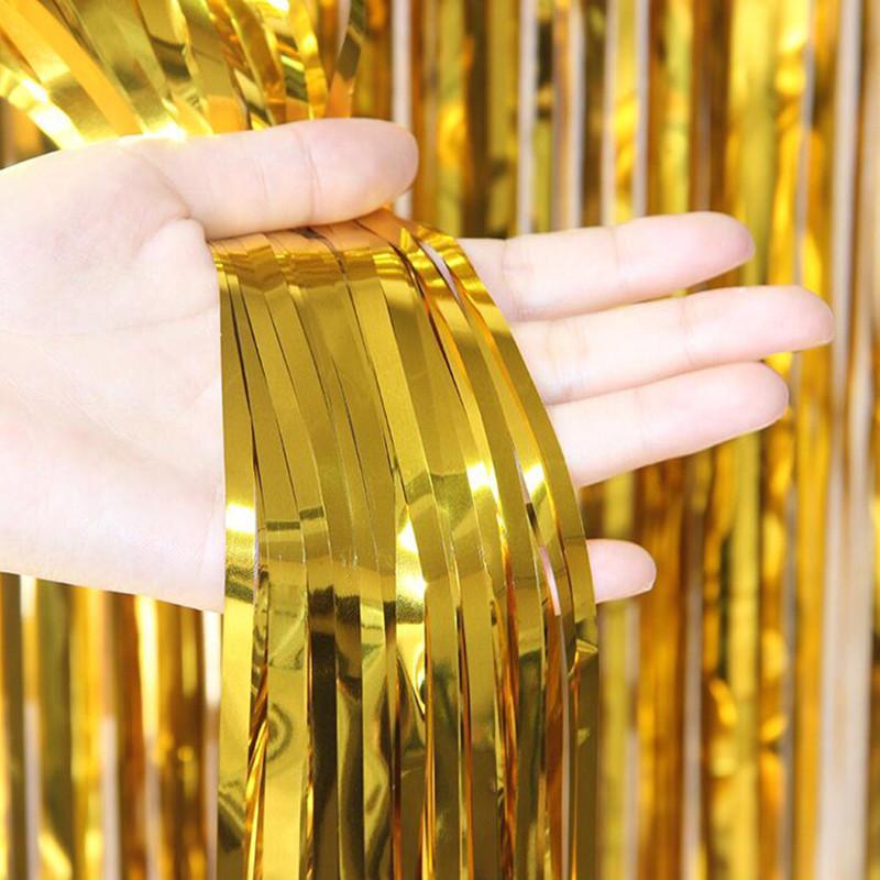 1 STÜCKE Dünne 1 mt * 2 mt PET Metallic Regen Vorhang Zimmertür Regen Vorhang Hochzeit Geburtstagsfeier Dekoration Freies Verschiffen