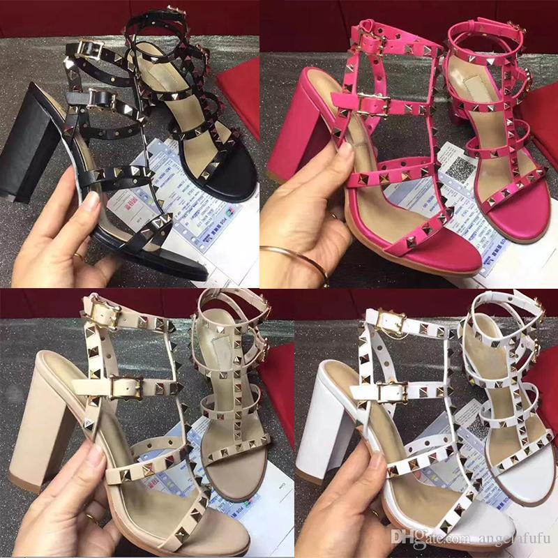 2020 أحذية عالية الجودة النمط الأوروبي الجلود المستوردة أنثى sandalsdesigner ديه بطاقة النعال الإناث المرأة الكعب العالي موضة