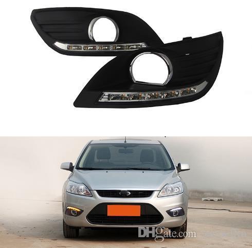 Daytime Sedan 2pcs DRL Para Ford Focus Correndo cobertura Luzes LED Nevoeiro cabeça de lâmpada com turn carro amarelo sinal de styling