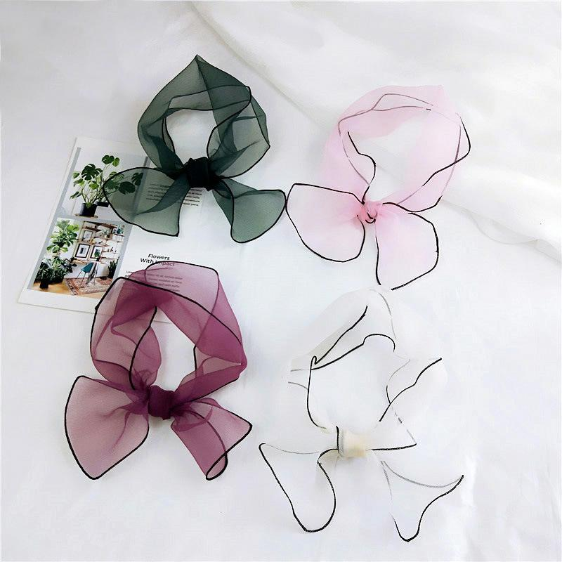 The new fashion solid color organza little short paragraph summer long scarf wrapping scarves all-match scarf thin scarf Variety