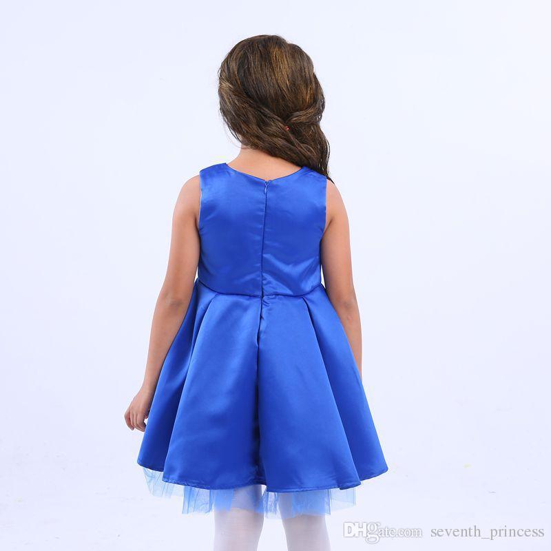 Großhandel Mädchen Kleid Baby Mädchen Prinzessin Kleid Kind Rot Blau ...