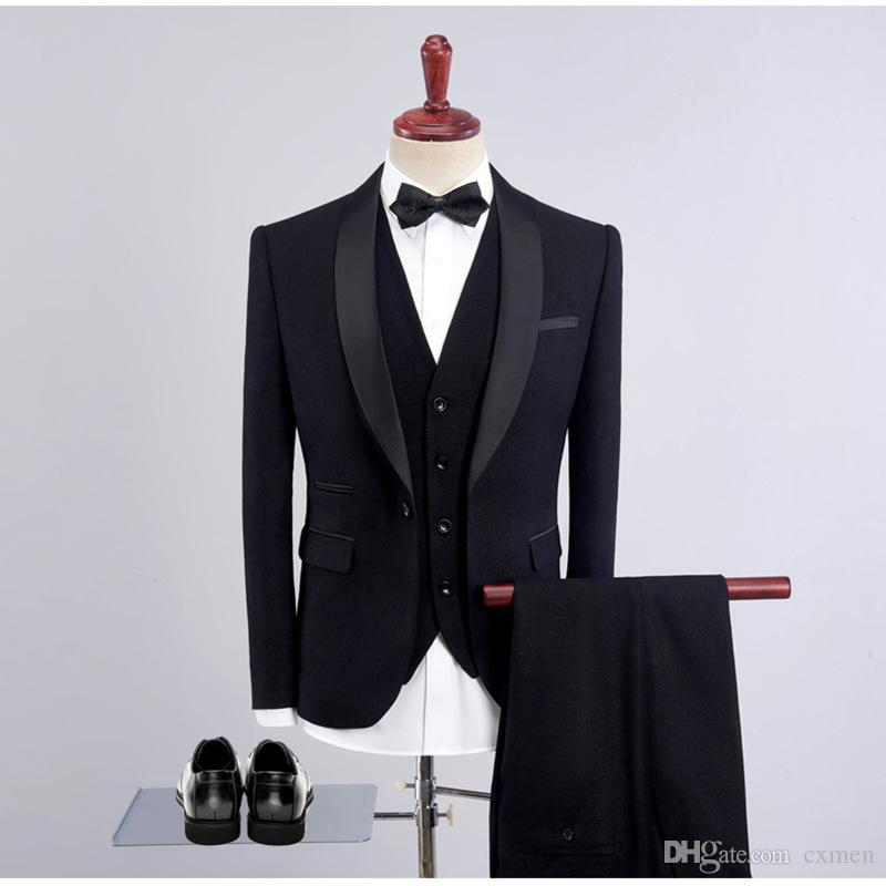 Custom Made Black Wedding Suits for Men Satin Shawl Lapel Slim Fit Burgundy Blazer Royal Blue Groom Tuxedos Bridegroom Outfit 3Piece
