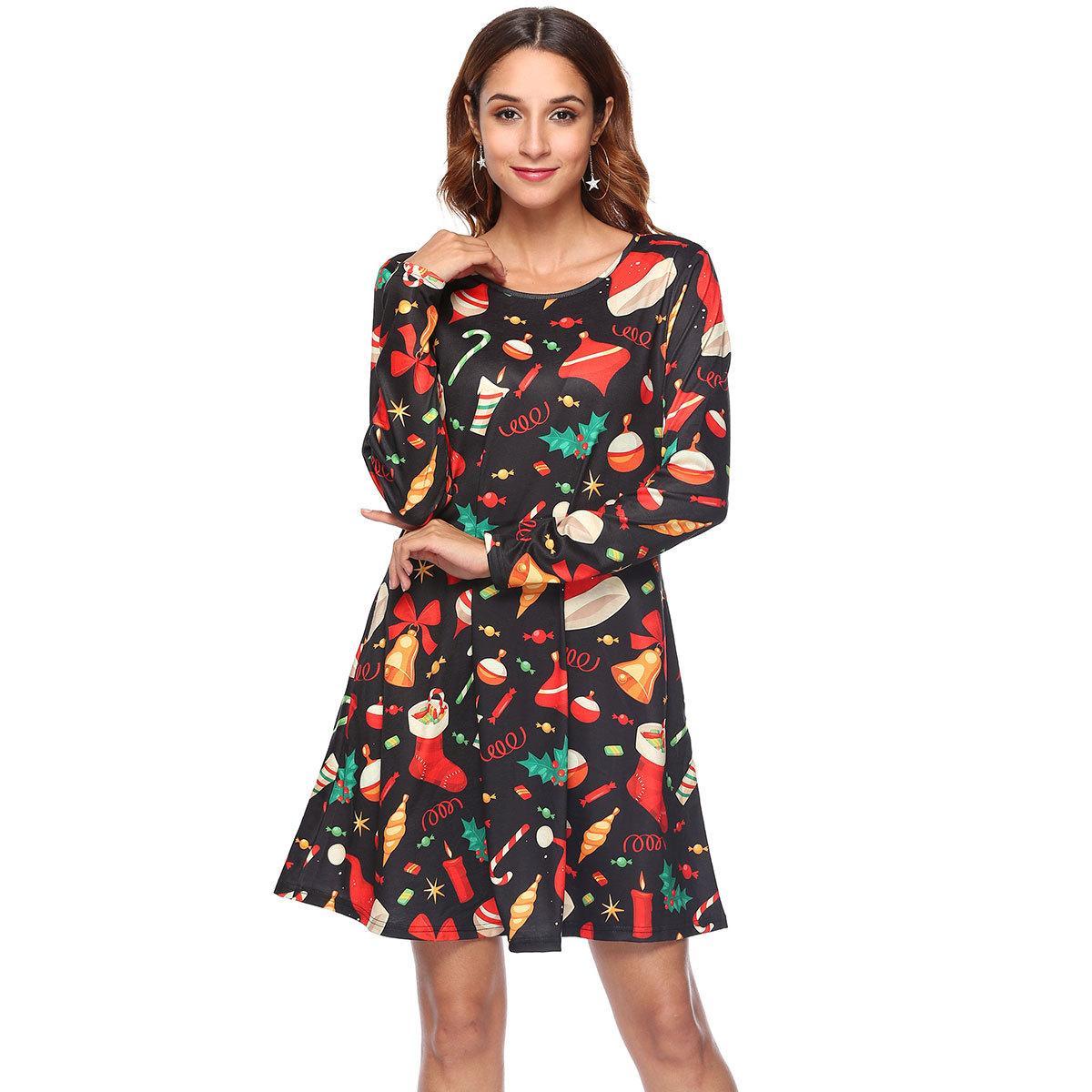 Christmas Print Dresses 2020 2020 Womens Long Sleeves Christmas Print Dresses Ladies Flared