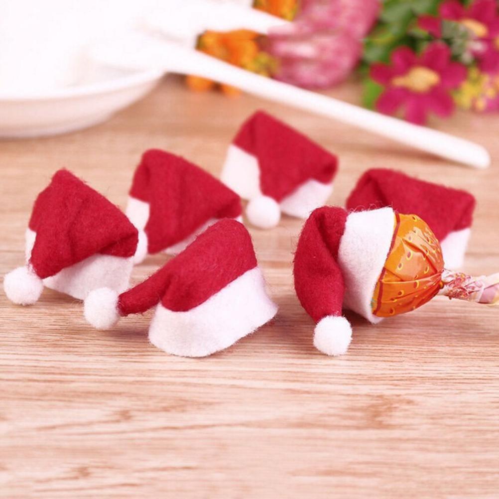 30PCS 핫 세일 미니 산타 클로스 모자 크리스마스 크리스마스 휴일 롤리팝 상단 토퍼 커버 축제 장식 도매