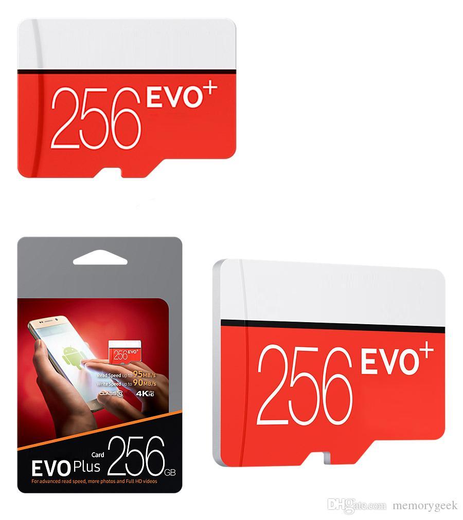 2018 Best Seller Negro EVO PLUS + 256GB 128GB C10 TF Tarjeta de memoria flash 95MB / S con adaptador SD Paquete de blister Aduana Envío Epacket