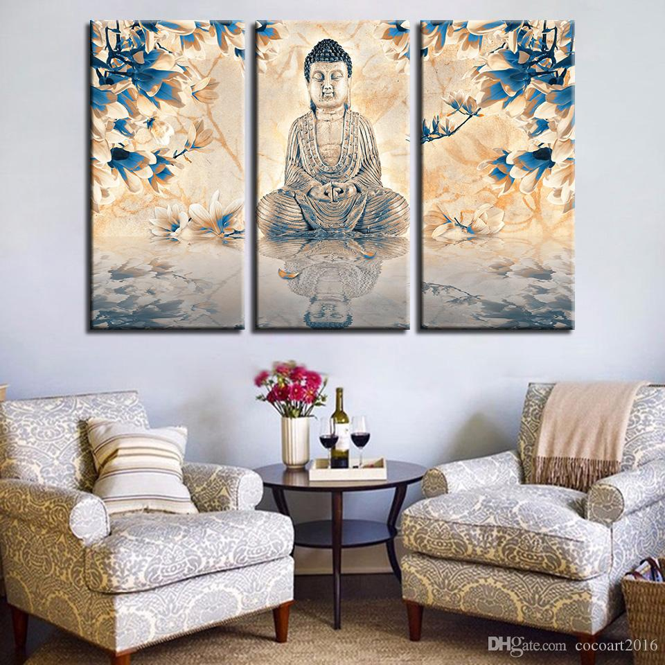 Canvas Print Poster Home Decor Wall Art 3 Piece Buddha Statue Painting Living Room Blue Magnolia Champagne Flower Pictures Frame