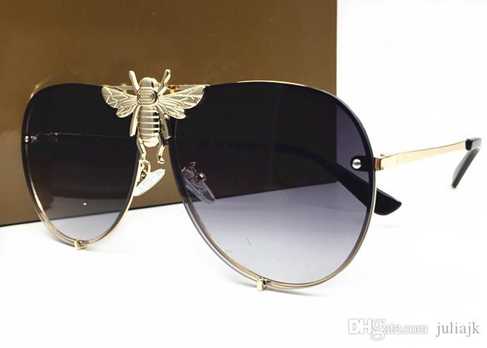 이탈리아 럭셔리 2238 선글라스 남성 여성 브랜드 디자이너 인기있는 패션 여름 스타일과 꿀벌 고품질의 자외선 차단 렌즈 (상자 포함)