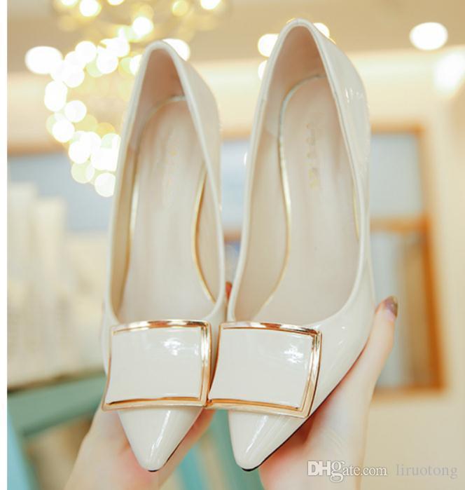 Ücretsiz göndermek 2018 yeni stil sivri uçlu yüksek topuk ayakkabı Sığ ağız Ince topuk kadın Tek ayakkabı