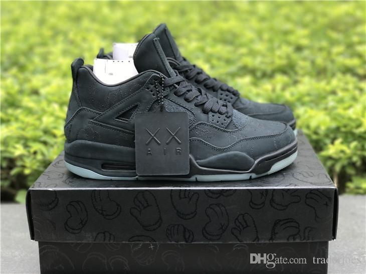 2018 Yeni Traderjoes Mens Basketbol Ayakkabı Kutusu Ile Sneakers 4 S IV Siyah Beyaz Kot Erkekler için Açık Atletizm Spor Ayakkabı US13