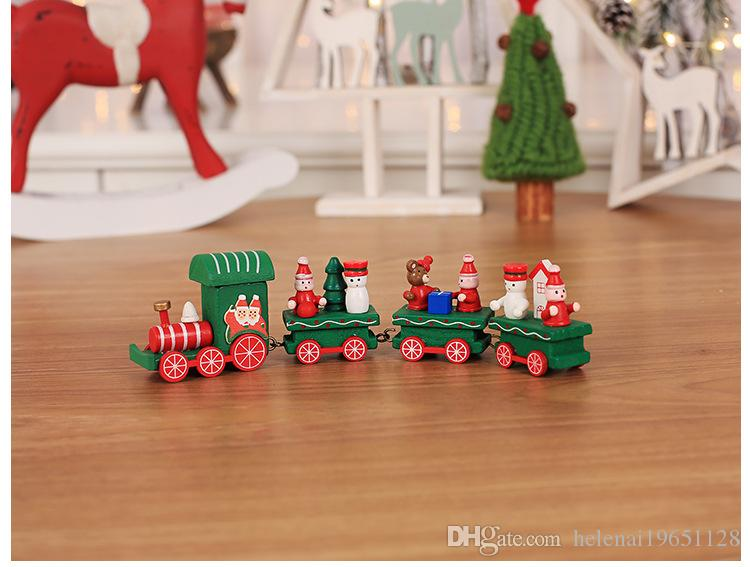 Lovely Chrismas toys decoration, hot small wooden trains decorations as a special gift for your lovely children.