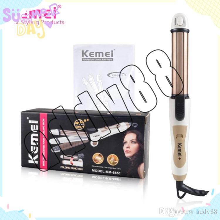 Kemei 3 en 1 cheveux curling lisseur de cheveux pliable fer à lisser multifonction ondulé plaque de maïs en fer rouleau chauffant