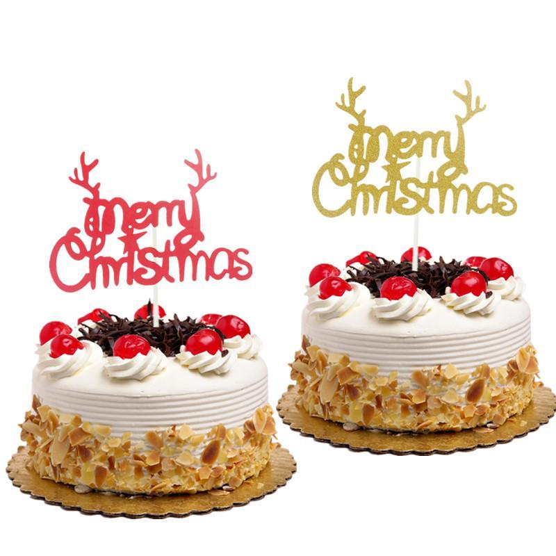 Christmas Cake Toppers.2019 Christmas Cake Toppers Flags Kids Birthday Santa Claus Elk Cupcake Cake Topper Wedding Party Baby Shower Baking Diy Decor From Suozhi1996 14 08
