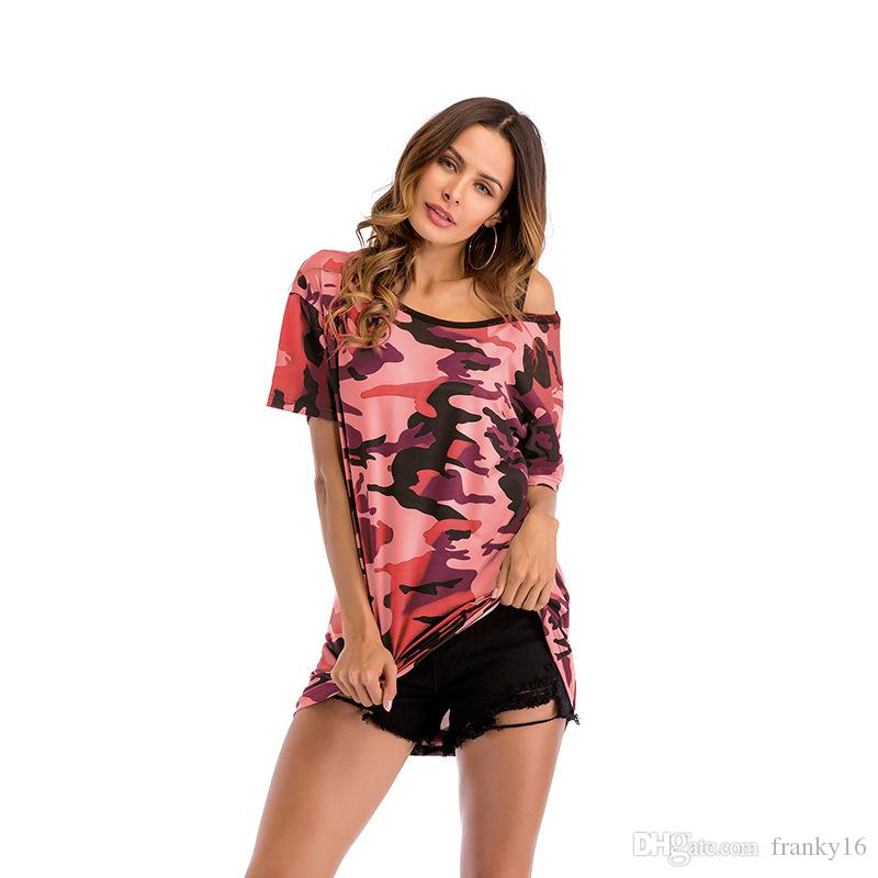 Free Shipping 2018 Women's T Shirt Camouflage Off-shoulder Mid Long Short Sleeve T-shirt Female Loose Top Tees Clothing