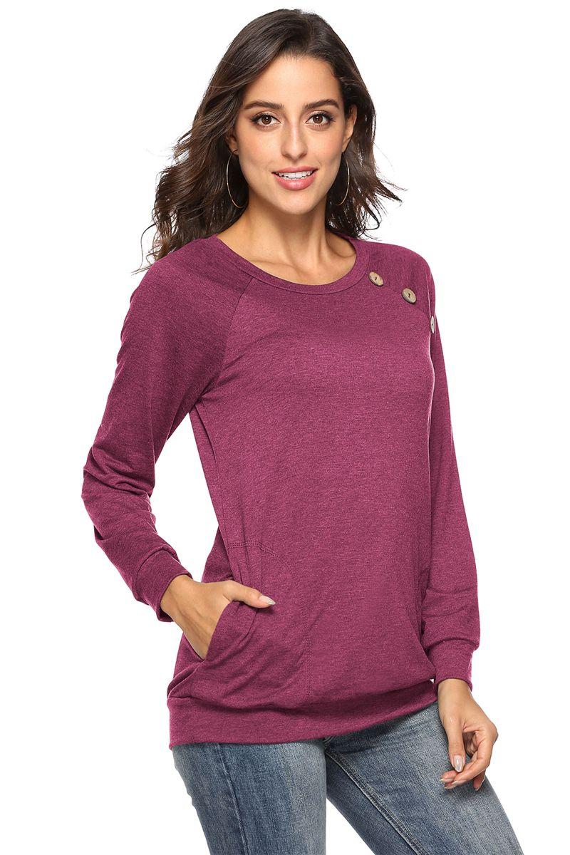 المرأة الترفيه T-shirt قميص 2018 DHL المرأة جولة زر طوق القميص