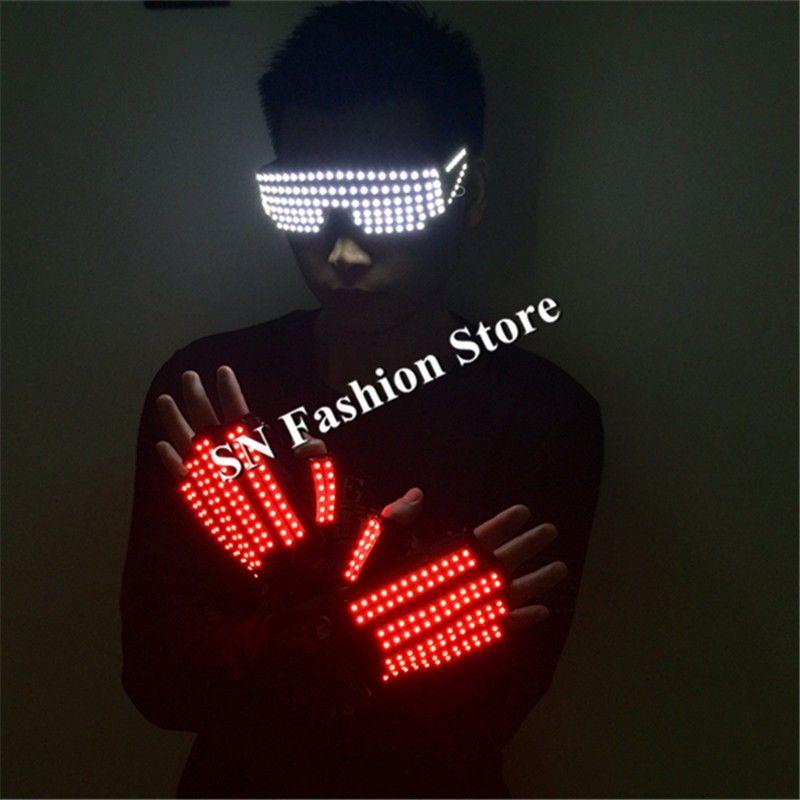 T3 Mens lighted gloves led costumes ballroom dance costum stage show led glass led gloves light gloves dj wears performance bar wear 1set