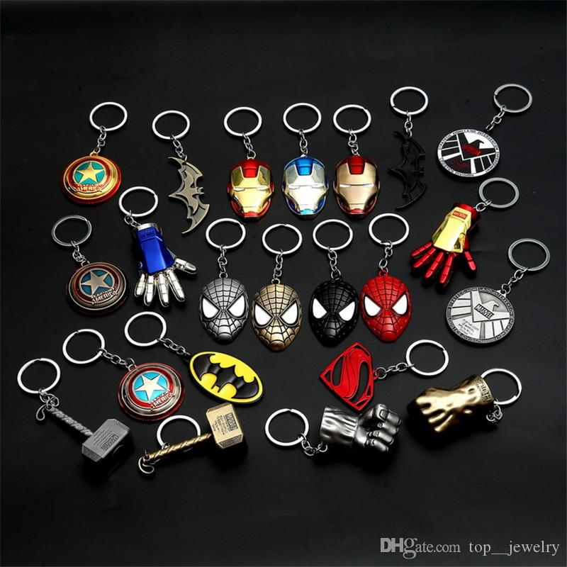 Creative The Avengers Captain America Shield Keychain Superhero Thor Hammer Thanos KeyChain Key Ring Fashion Accessories Novelty Items Gifts