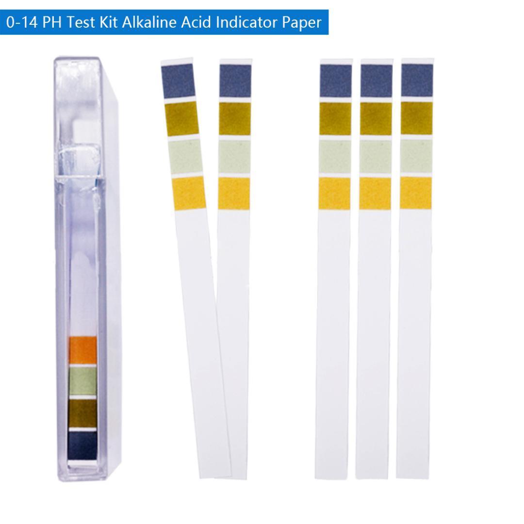 Yüksek 100 Şeritler / Set 0-14 PH Test Kiti Alkali Asit Göstergesi Kağıt Su Tükürük Litmus Tester Ölçüm Analiz Aletleri