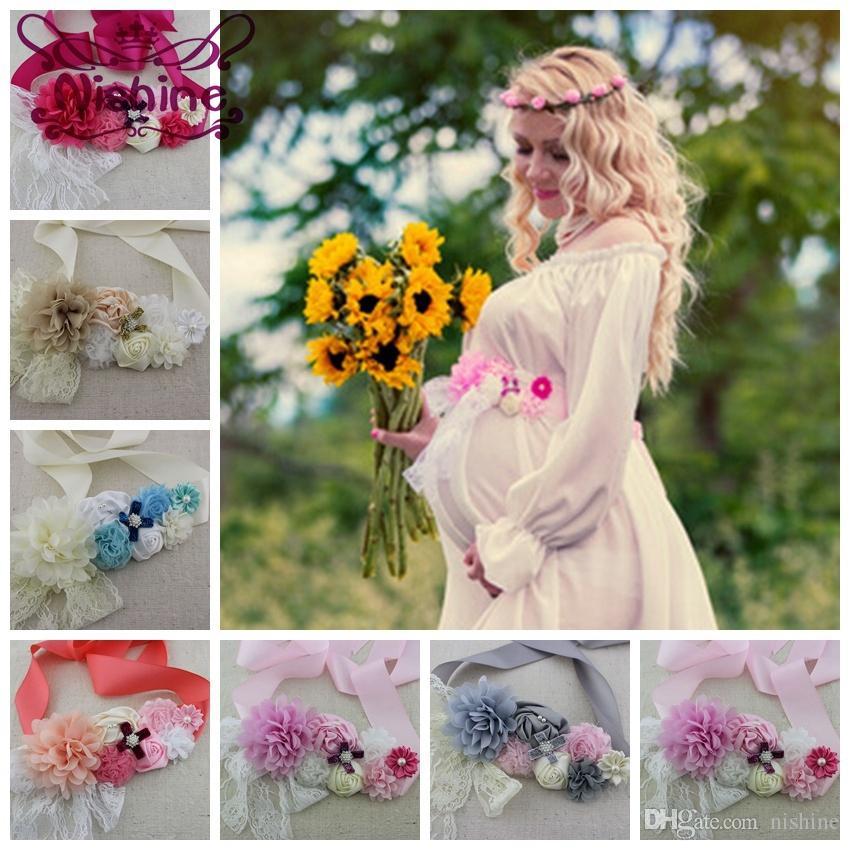 Yeni 10sets / lot Kızlar Kadınlar Kanat ile Elastik Kafa Seti şifon Dantel Çiçek Hamile Kadın Kız Kuşak Kanat Annelik Kanat Fotoğraf Prop