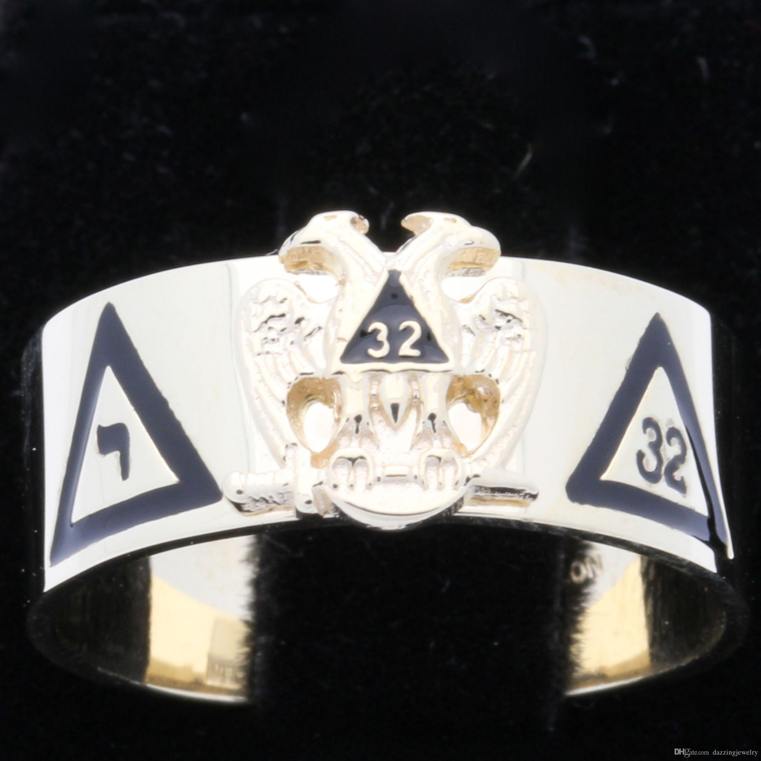 Men's 316 stainless steel Scottish Rite 32nd degree masonic ring with eagle wings up or wings down 32nd Yod rings jewel